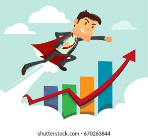 Young success businessman. Super hero business man on statistics red arrow and diagram. Full editable for animation. Vector modern design flat cartoon character.