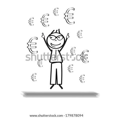 Young Successful Businessman Cartoon Euro Sign Stock Vector Royalty