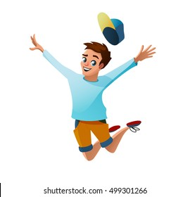 Young successful funny guy jumping up vector illustration. Boy jumps. Man jumps. Man jumps. Man jumps. Businessmen jumps. Successful man. Successful man.Successful man.