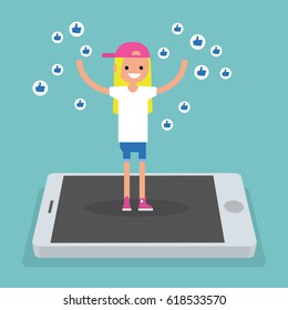 Young successful girl standing on mobile screen and raising her hands surrounded by like symbols  / flat editable vector illustration