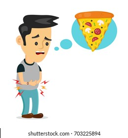 Young suffering sad man is hungry. thinks about food, fast food, pizza. Vector flat cartoon illustration icon design. Isolated on white background. Hungry concept