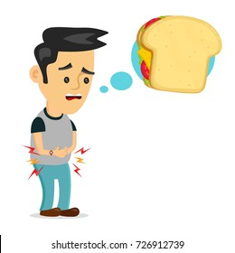 Young suffering sad man is hungry. thinks about food, fast food, sandwich. Vector flat cartoon illustration icon design. Isolated on white background. Hungry, sandwich concept