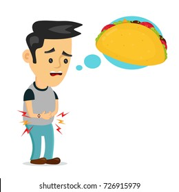 Young suffering sad man is hungry. thinks about food, fast food, taco. Vector flat cartoon illustration icon design. Isolated on white background. Hungry,tasty taco concept