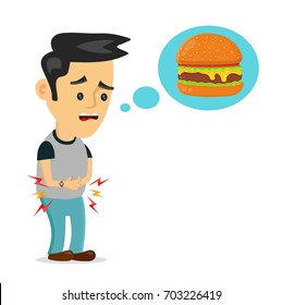 Young suffering sad man person is hungry. People thinks fast food,burger.Vector flat cartoon illustration icon design. Isolated on white background.Hungry boy,hunger stomach,constipation,kids concept