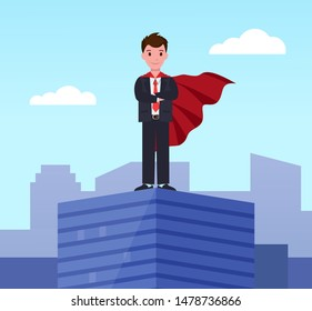 Young super business man, executive worker in superhero cloak on top of office building. Motivation and ambition, ceo manager winner confident employee in suit. Businessman stand on roof of skyscraper