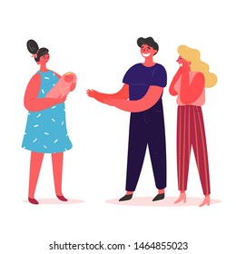 The young surrogate mother smiling and gives the baby to his happy parents. Happy young couple who will soon become parents met a surrogate mother with sleeping baby. Vector illustration, flat.