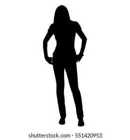 Young tall sexy woman standing and she has hands on her hips. Vector silhouette. Front view