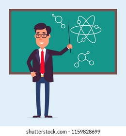 Young teacher character standing near the blackboard with the pointer. Phisics or chemistry class. Flat design. Back to school idea.