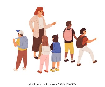 Young teacher with diverse children. Female educator with school students isolated on white background. Adult woman, schoolgirls and schoolboys. Colored flat cartoon vector illustration