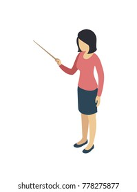 Young teacher with pointer 3d isometric icon. School education isolated vector illustration.