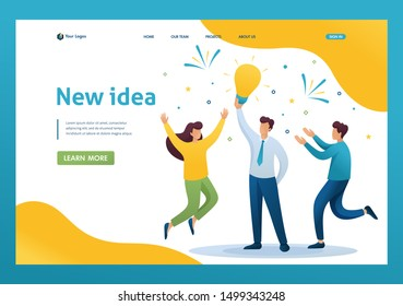Young team Creates a new idea, teamwork. Brainstorm business ideas. Flat 2D character. Landing page concepts and web design