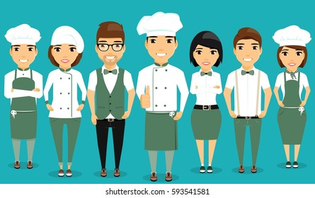 A young team of restaurant workers. Confident professionals. Cartoon in a flat style. Happy people.