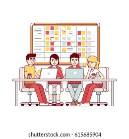 Young team working together on a IT start up business. SCRUM task board hanging in a team room full of tasks on sticky note cards. Modern flat style thin line vector illustration isolated on white.