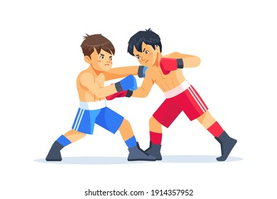 Young teen exercising with trainer at boxes and self defense lesson. Cartoon vector illustration on white background.