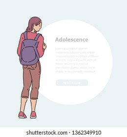 Young teen girl stands looking away with backpack on her back vector line art flat illustration banner and round area for text.