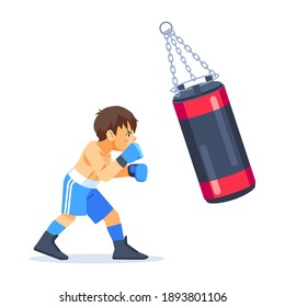 A young teenage boxer trains with a sandbag for boxing. Fitness, sports, exercise, willpower and lifestyle concept. Cartoon vector illustration on white background