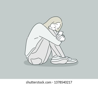 Young teenager girl suffering mobile cell phone addiction feeling lonely and depressed having insomnia needing to be connected sitting on floor. Hand drawn style vector design illustrations.