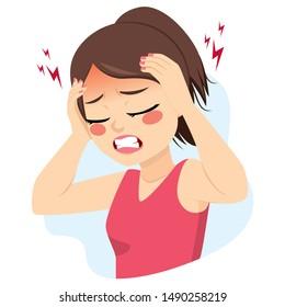 Junge Teenagerin mit Migräne-Kopfschmerz-Problem mit Händen