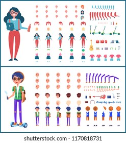 Young teenagers boy and girl isolated icons set vector. Students with backpacks, laptop and bottle of drink. Gestures and clothing, phone and tablet