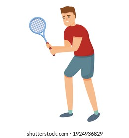 Young tennis player icon. Cartoon of young tennis player vector icon for web design isolated on white background