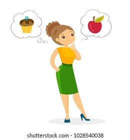 Young thoughtful caucasian white woman choosing between an apple and a cupcake. Concept of choice between healthy and unhealthy nutrition. Vector cartoon illustration isolated on white background.