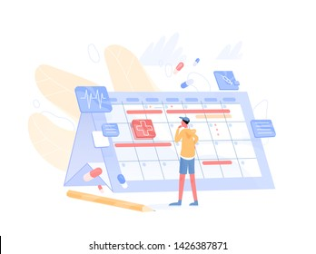 Young thoughtful man looking at giant calendar and choosing available date to visit physician. Doctor appointment scheduling. Health care or medical service. Modern flat cartoon vector illustration.