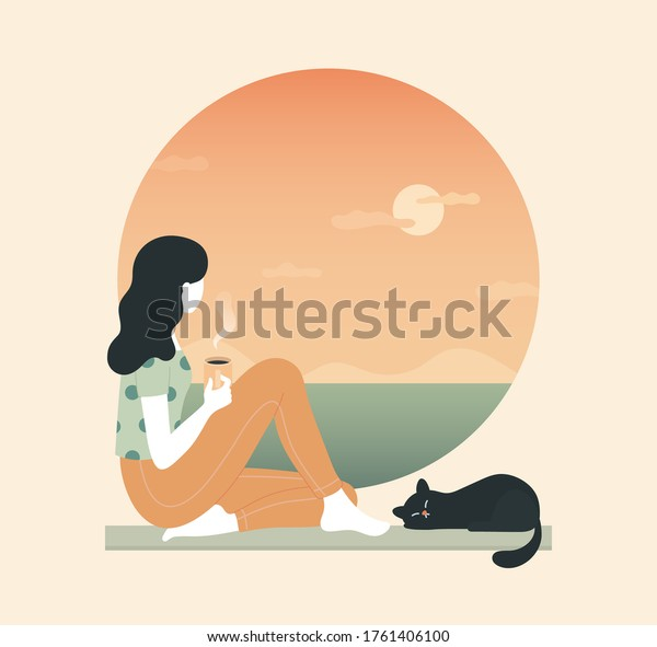 Young thoughtful woman drinking coffee and looking through window while sitting on windowsill at home. cat, tea, sunset,  cloud, sea, ocean. Thinking, meditating, relaxed concept. Vector illustration.