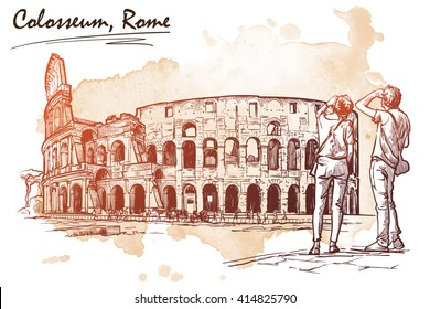 Young tourist couple observing panorama of Roman Colosseum. Travel Sketchbook drawing with a grunge background on a separate layer. Romantic postcard. Vintage design. EPS10 vector illustration.