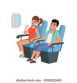 Young tourist couple sitting in airplane seats, people traveling together during summer vacation vector Illustration on a white background