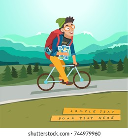 Young traveler riding a bicycle with bag and map, mountain landscape on background. Bicycling tourism concept. Vector colorful illustration