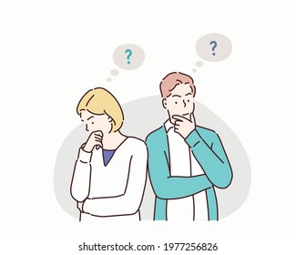 Young troubled couple. Confused woman and man thinking together. Hand drawn style vector design illustrations.