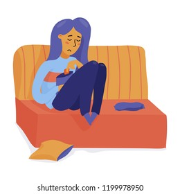 Young unhappy, depressed woman, girl sitting on sofa, eating chips, feeling sad, flat vector illustration isolated on white background. Sad girl, woman sitting on sofa in depression, overeating