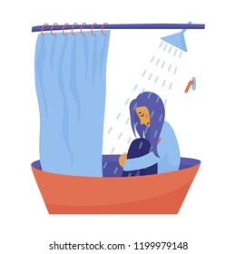 Young unhappy, sad, depressed woman, girl sitting fully clothed in bathtub under running water, flat vector illustration isolated on white background. Sad girl, woman sitting clothed in shower