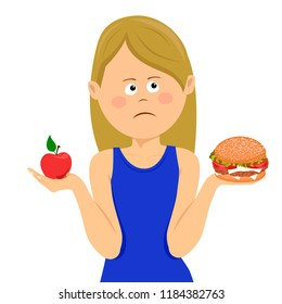Young unhappy woman chooses between junk food and healthy diet