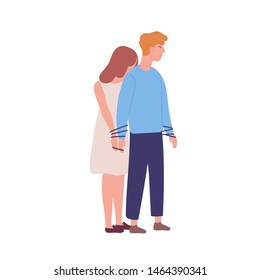 Young unhappy woman tied to man. Concept of codependency, codependent relationship. Mental illness, behavioral problem, psychiatric condition, obsession. Flat cartoon colorful vector illustration.