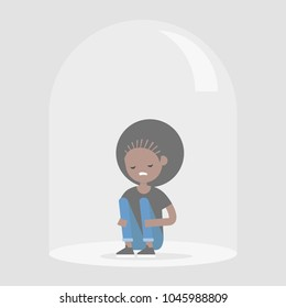 Young upset black girl sitting under the glass dome. Introvert. Depression. Flat editable vector illustration, clip art