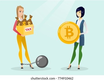 Young upset chained caucasian white business woman holding bags with taxes while another business woman holding bitcoin coin symbolizing tax-free in payment by bitcoins. Vector cartoon illustration.