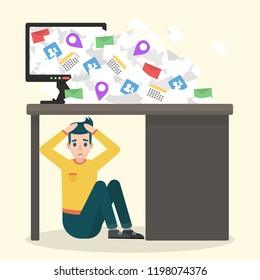 Young upset man sitting under the table. Information overload vector concept. Flat design illustration of receiving too much email correspondence.