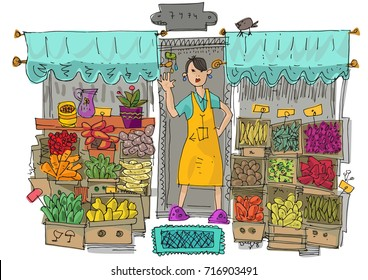 A young vendor girl near street shop full of vegetables and fruits in cardboard boxes. Cartoon.