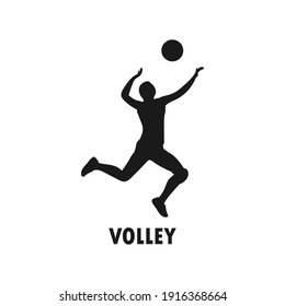 Young volleyball player black silhouette. Female athlete. Sportswoman concept. Volley tournament. Athletic sports team. Smash or serve pose. Healthy activity. Human health vector illustration.