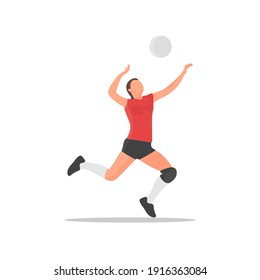 Young volleyball player. Female athlete. Sportswoman concept. Beach volley tournament. Women sports team. Athletic woman. Smash or serve pose. Healthy activity. Human health flat vector illustration.
