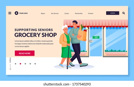 Young volunteer man helps to senior woman to shop at grocery store. Vector flat cartoon characters illustration. Smiling guy carries paper bag with food and supports elderly mother or grandmother