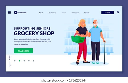 Young volunteer woman helps to senior man helps to shop at grocery store. Vector flat cartoon characters illustration. Smiling girl carries basket with food and supports elderly father or grandfather