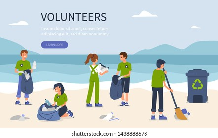 Young volunteers clean beach from plastic. Flat style vector illustration isolated on white background.
