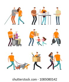 Young volunteers help to disabled and old people. Volunteer walking with dog, babysitting and assistance. Vector characters set. Illustration of care old person, assistance and helping