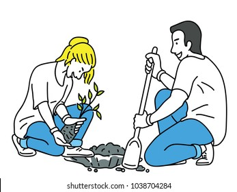Young volunteers, helping to plant sprout of tree in public social activity. Outline, linear, thin line art, hand drawn sketch design, simple style.