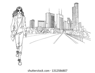 Young walking girl, dressed in a jacket and jeans. Pretty business woman. Casual style. Vector hand drawn line sketch, Tel Aviv, Ramat Gan, Israel. Modern cityscape  background. Isolated on white.