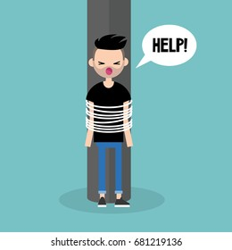 Young white person tied up character calling for help / flat editable vector illustration, clip art