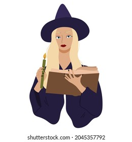 Young witch casts a spell and holding grenn candle.Esoteric and mystical character.