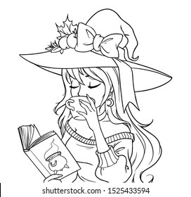 Young witch is drinking coffee and reading   book. Hand drawn contour vector illustration for coloring book, children games, cards, tattoo, sticker, t shirt etc. Isolated on white background.